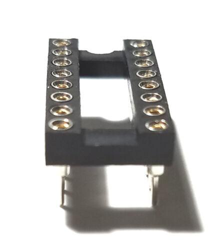 5PCS IC Sockets DIP-16 Machined Round Contact Pins Holes 2.54mm DIP16 DIP 16