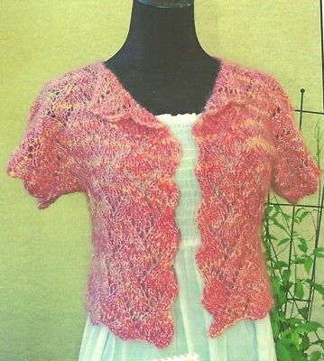 PRETTY SHORT SLEEVE LACE CARDI to KNIT in WORSTED WEIGHT by FIESTA YARNS