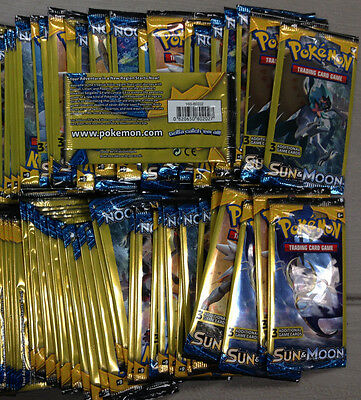 50 X Pokemon Sun   Moon Dollar Tree 3 Card Booster Packs   Factory Sealed