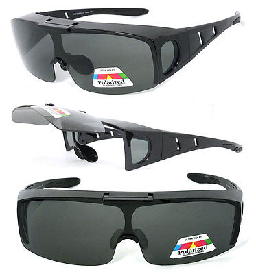 Flip Up POLARIZED Cover Put Fit over Sunglasses wear Rx glass Fit Driving - Flip Glasses