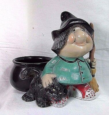 Vintage 1983 Ceramic Lovely Witch w Cat Signed Halloween Decor By Craft Workshop