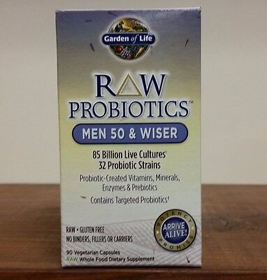 Raw Probiotics Men 50   Wiser 90 Vegetarian Capsules 85 Billion Garden Of Life