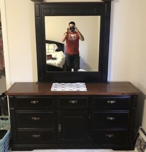 Black Dresser Drawer with Attached Mirror