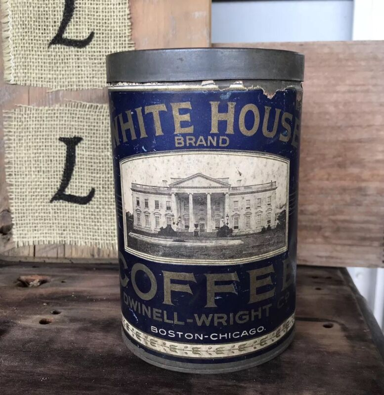 Antique White House Coffee Tin Embossed Lid Rare Empty