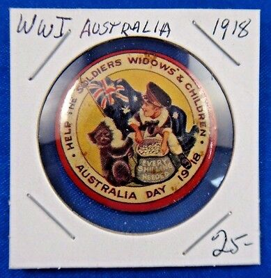 Orig Vtg WW1 Australia Day 1918 Help Soldiers Widows' and Children Pin Button