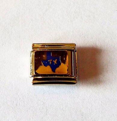 Blue state of Texas enamel 9mm stainless steel italian charm bracelet link new