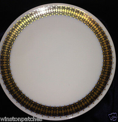 "HERITAGE BAVARIA GERMANY ARABESQUE SALAD PLATE 7 5/8"" GOLD & COBALT BAND"