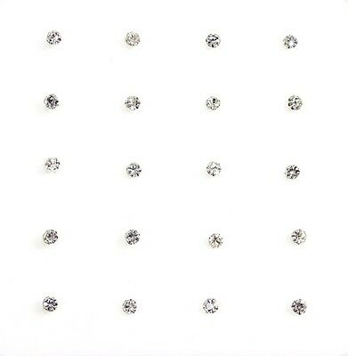 20x Sterling Silver Straight Clear Round Claw Set Crystal Nose Studs