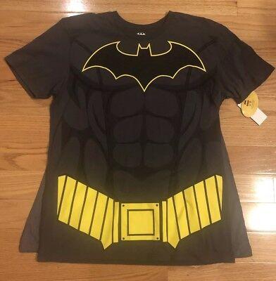 Bioworld Batman DC Comics Mens Super Hero Sublimated Charcoal T-Shirt with Cape (Superhero T Shirts With Cape)