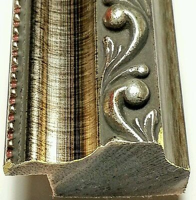 ☆SALE☆ 24 ft - Ornate Silver Picture Frame Moulding, SOLID WOOD, Spot Mahogany