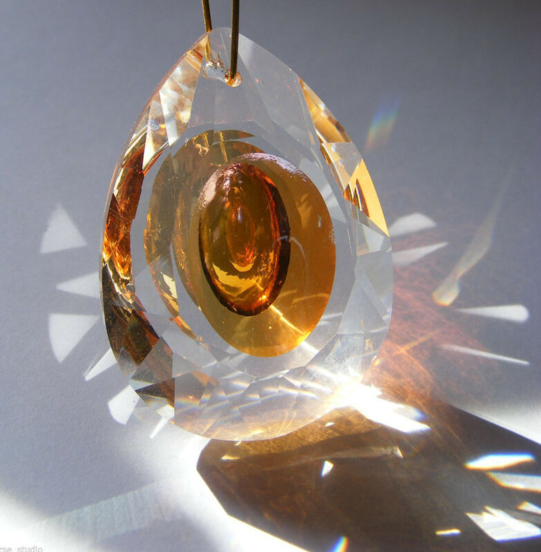 """Pretty SUNCATCHER!  CRYSTAL faceted glass 50mm  """"Dragon Eye""""  PRISM Feng Shui"""