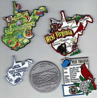 WEST VIRGINIA MAGNET ASSORTMENT 5 NEW  SOUVENIRS WITH JUMBO ARTWOOD MAP MAGNET