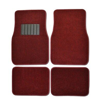 New 4PC Set Plush Deluxe Front and Rear Car Truck Burgundy Red Carpet Floor Mats - Red Floor