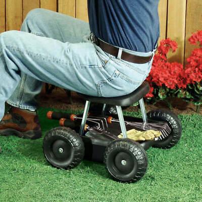 Heavy Duty 4 Wheel Rolling Gardner's Friend Garden Seat Scooter w/ Tool Tray