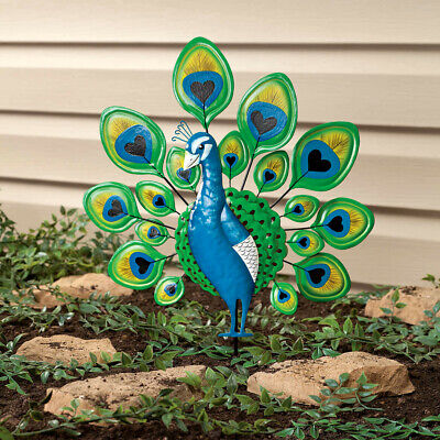 Colorful Bright Peacock Bird Metal Stake Garden Statue Yard Art Lawn Ornament ()