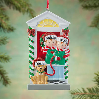 NAME PERSONALIZED Couple Family with Dog of 2 3 4 5 6 Christmas Ornament Gift
