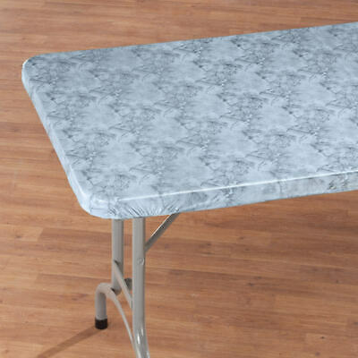 FITTED Vinyl  Marble Banquet Card Table Cover 36