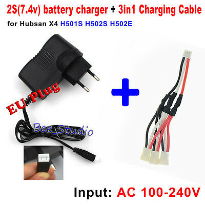 EU plug Balance Charger & Charging Cable for Hubsan X4 H501S H502S RC Quadcopter