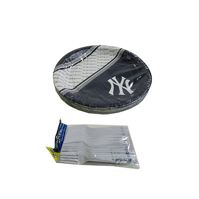 New MLB New York Yankees 40pc Disposable Plates & Forks Party-Ware - Yankees Party Supplies