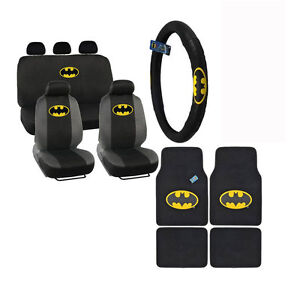 New Batman Shield Front Back Car Floor Mats Seat Covers Steering Wheel Cover