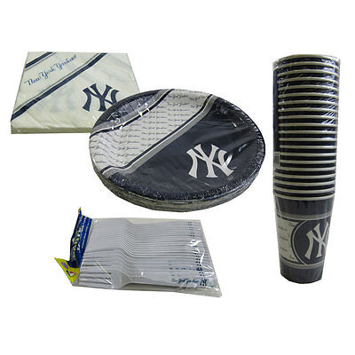 New MLB New York Yankees 80pc Paper Plates Cups Forks Napkins Party - Yankees Party Supplies