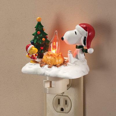 Christmas Decor Flickering Night Light Peanuts Snoopy Woodstock at Campfire