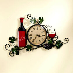 Wine Vine Gravepine Scrolling Wall Art Hanging Kitchen Metal Roman Clock 20 L