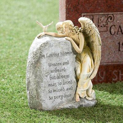 Angel Memorial Garden Yard Stone Statue Grave Cemetery Beloved Departed 11''H - Garden Angel Yard