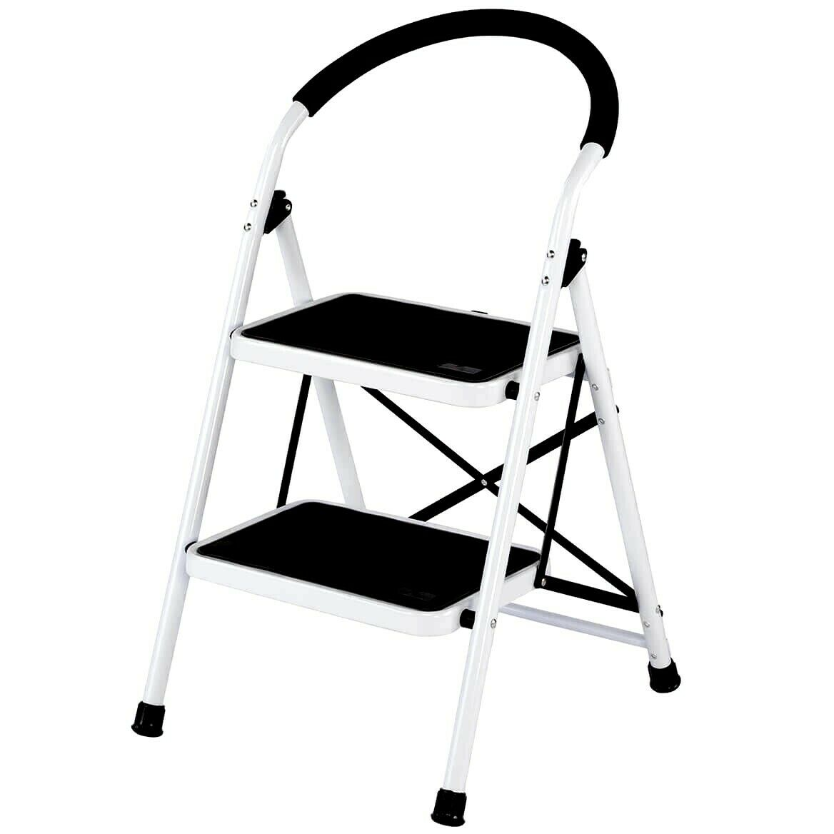 2 Step Ladder Folding Steel Step Stool With Handle Anti-300