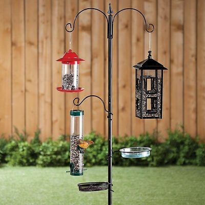 Wild Bird Feeder Stand 3 Hooks 1 Bath 1 Mesh Seed Tray Outdoor Garden ~