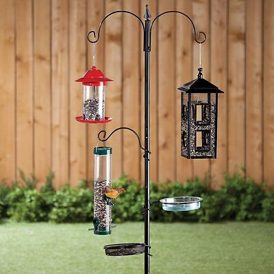 Wild Bird Feeder Stand 3 Hooks 1 Bath 1 Mesh Seed Tray Outdoor Garden