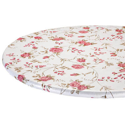 Oval Round Table - FITTED Rose Flower Vinyl Round Oval/Oblong Table Cover Cloth Floral Backed ~