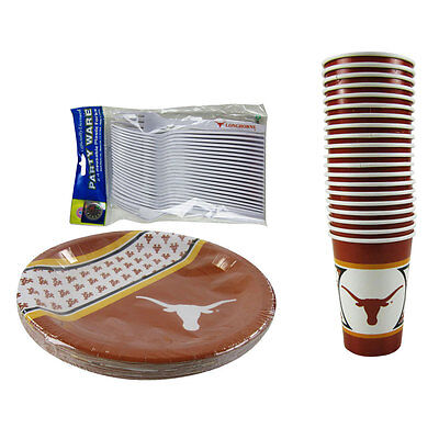 New NCAA Texas Longhorns 60pc Paper Plates Cups Forks Party-Ware - Longhorn Party Supplies