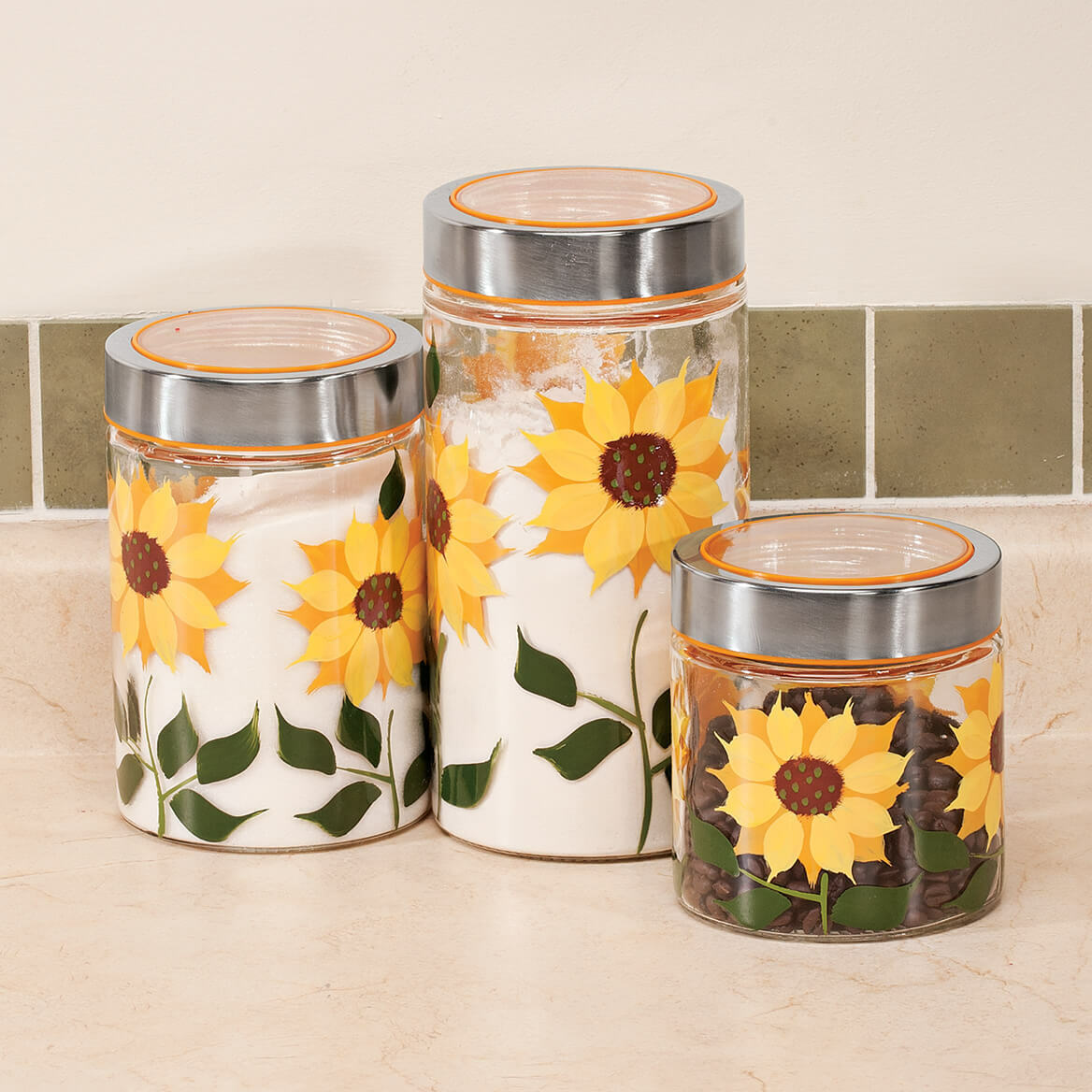 NEW Sunflower Canisters, Set of 3 355808 Free Shipping