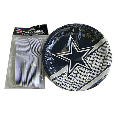New NFL Dallas Cowboys 40pc Disposable Plates & Forks Party-Ware - Dallas Cowboys Party Supplies