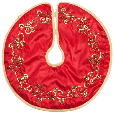 Red and Gold Glittered Tree Skirt by Holiday PeakTM ()