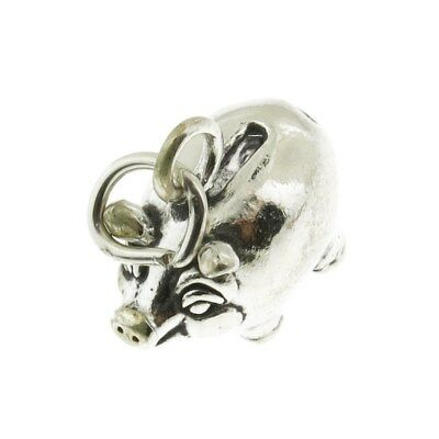 (925 Sterling Silver Piggy Bank Charm Made in USA)