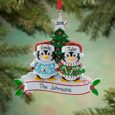 NAME PERSONALIZED Ugly Sweater Penguin Family of 2 3 4 6 Christmas Ornament GIFT