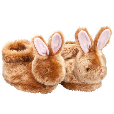 Brown Plush Easter Bunny Children's Slippers - Full Coverage, Soft Insoles,