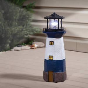 blue solar lighthouse statue rotating lamp outdoor light yard garden home decor - Garden Lighthouse
