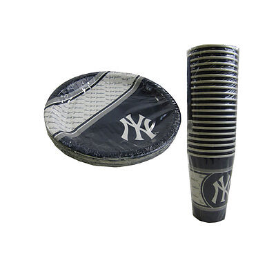 New MLB New York Yankees 40 Disposable Paper Plates Cups Party-Ware - Yankees Party Supplies