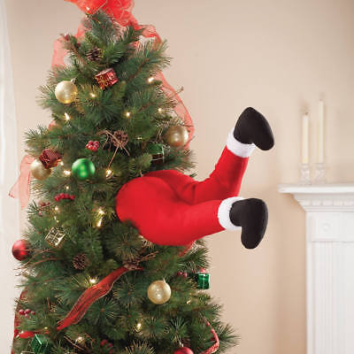 35cm Christmas Tree Large Bendy Stick Out Santa Legs Decoration Novelty Elf](Xmas Novelties)
