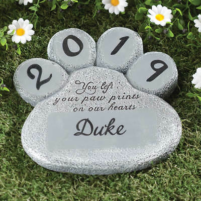 Paw Print Memorial PERSONALIZED Dog Cat Pet Stepping Stone Garden Grave Marker ~