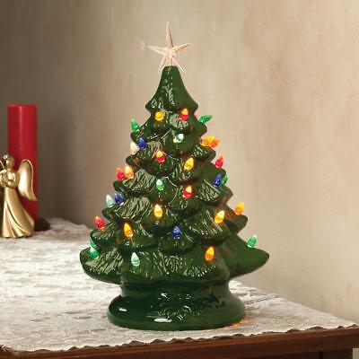 Grandmas Retro Nostalgic Ceramic Green Glaze Lighted Table Top Christmas Tree