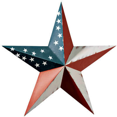 (Patriotic American Barn Star Durable Metal Hanging Outdoor Yard Art Bird Decor)