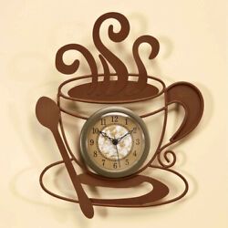 Metal Coffee Lover's Java Cup Kitchen Wall Art Hanging Brown Clock 10H
