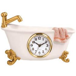 Clawfoot Bathroom Wall Clock Retro Hanging Antique Vintage Bathtub Design Decor