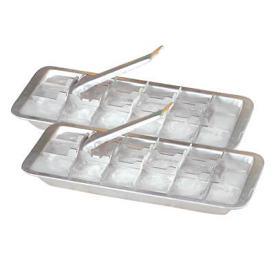 Vintage Kitchen Aluminum Metal Ice Cube Trays, Set of 2 – Each Tray Features 18