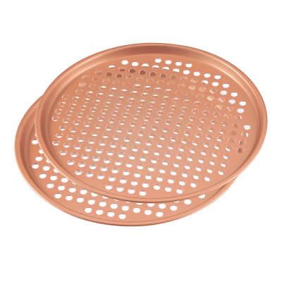 12.5 Ceramic Copper Pizza Pan Set of -