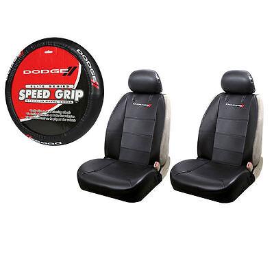 New Dodge Ram Elite Logo Sideless Front Seat Covers & Steering Wheel Cover Set